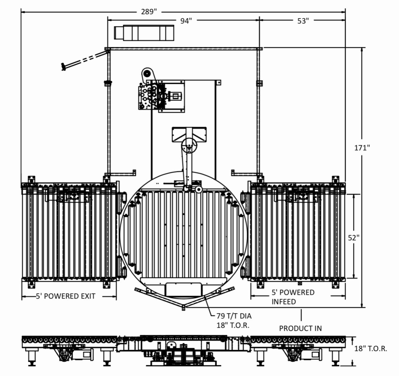 Platform Automatic Conveyorized Stretch Wrapper