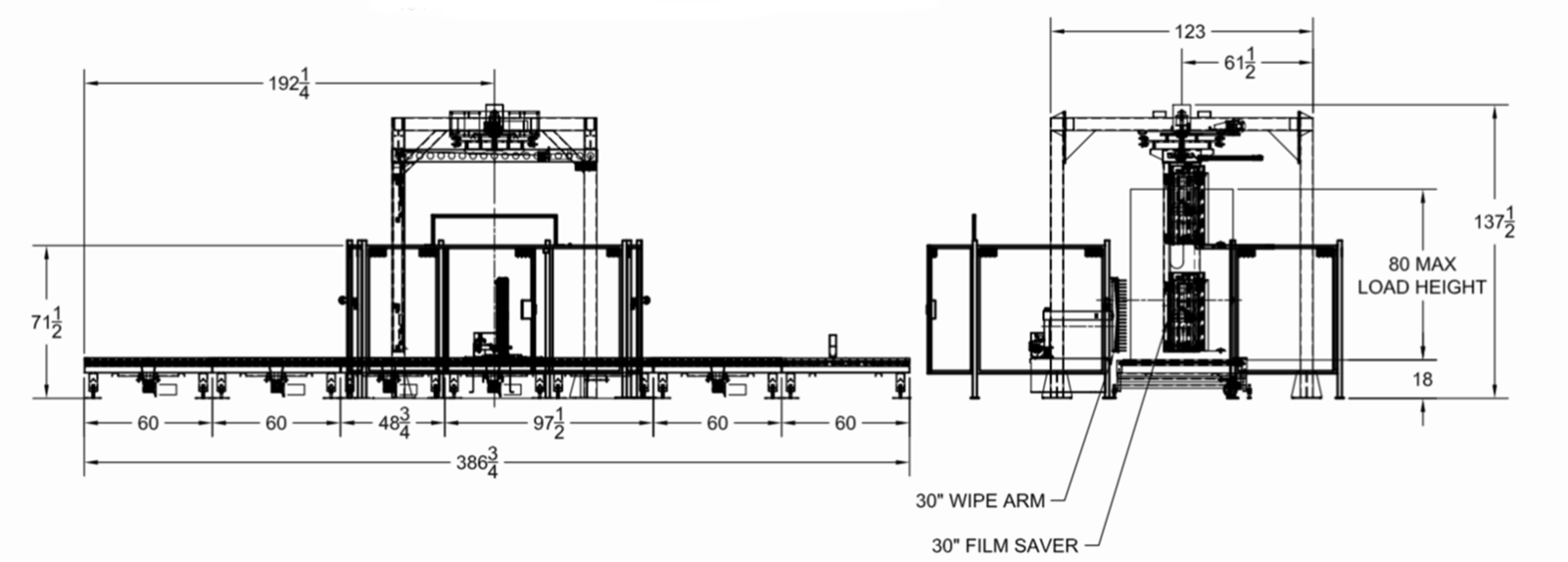Rotary Tower Automatic Conveyorized Stretch Wrapper