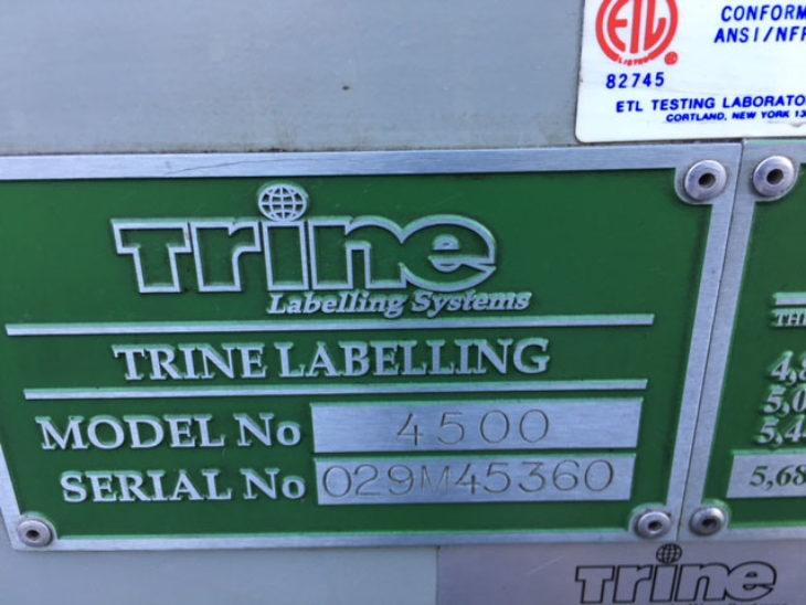 Used Trine 4500 Roll Fed Wrap Around Hot Glue Labeler full