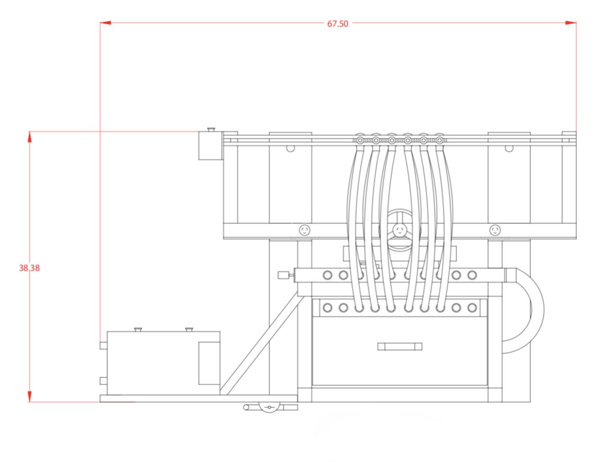 Used SureKap 6 Head Inline Bottle Filler with Conveyor Drawings