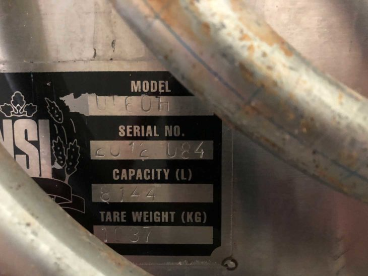 Used NSI 60HL Stainless Steel Fermentation Tank full