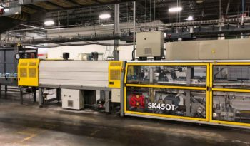 Used SMI SK450T Automatic Tray Former Packer Shrink Wrapper full